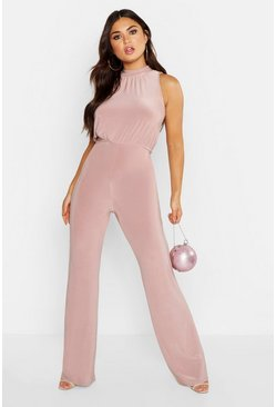 Womens Rose High Neck Ruched Jumpsuit