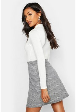 Dogtooth Check A Line Mini Skirt, Black