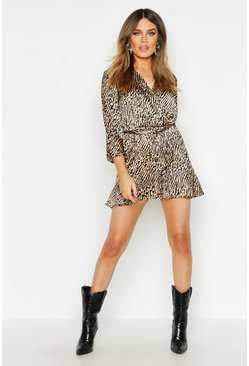 Sand Ruffle Detail Tie Waist Satin Animal Romper