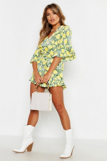 Womens Yellow Ruffle Detail Floral Tie Waist Playsuit