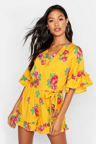Womens Mustard Ruffle Detail Floral Playsuit
