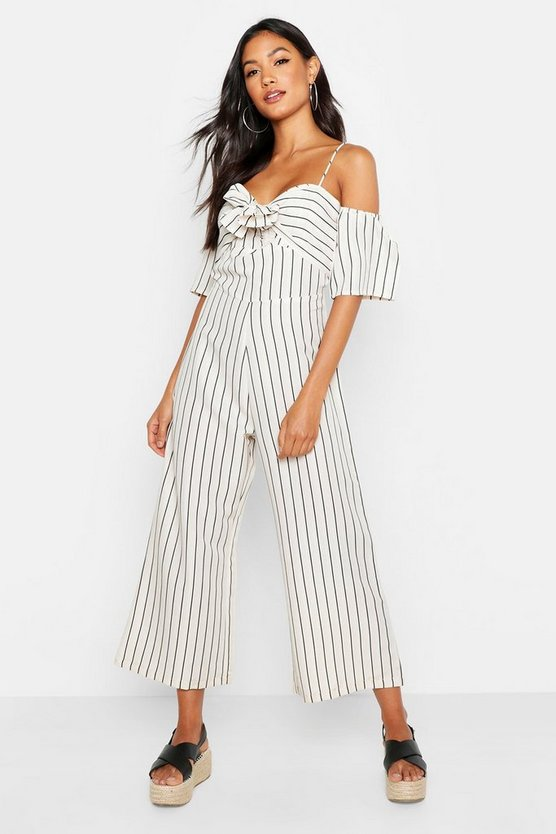 Womens Sand Tonal Stripe Off The Shoulder Wide Leg Jumpsuit