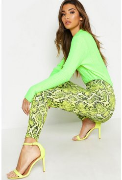 Womens Green Snake Print Leggings