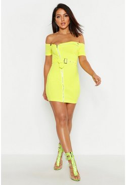 Zip Front Belted Mini Dress, Lime, Donna