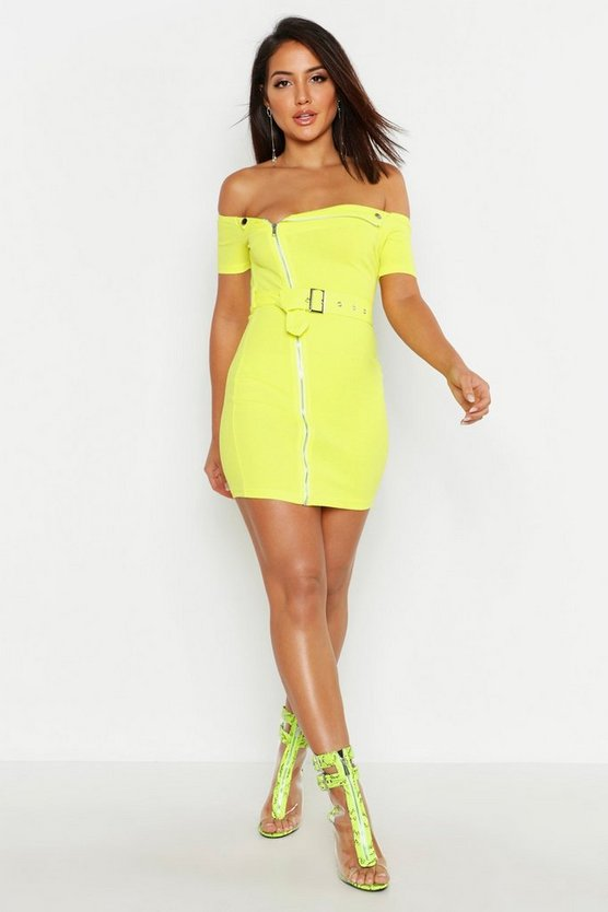 Womens Lime Zip Front Belted Mini Dress
