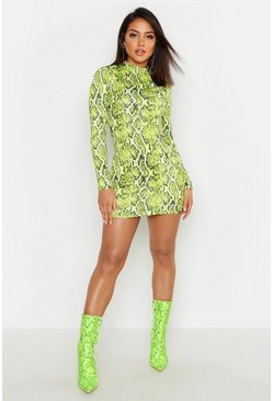 Womens Green Snake Print High Neck Mini Dress