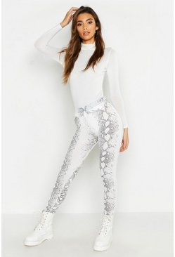 Womens Snake Print White Legging