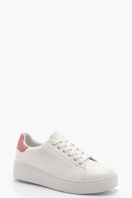 Womens Blush Platform Lace Up Trainers