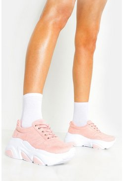 Womens Pink Hiker Lace Chunky Sneakers