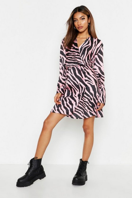 Womens Pink Satin Wrap Covered Button Zebra Dress
