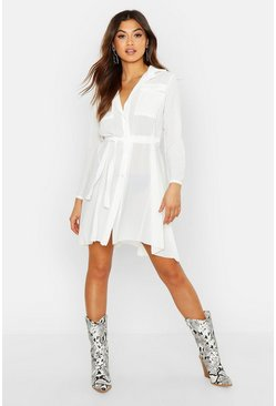 White Woven Button Detail Tie Belt Shirt Dress