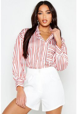 Womens White Satin Stripe Pocket Oversized Shirt