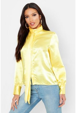 Womens Yellow Satin Tie Neck Covered Button Blouse