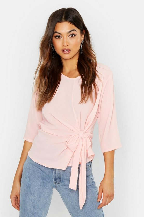 Woven Tie Side Blouse, Soft pink, Donna