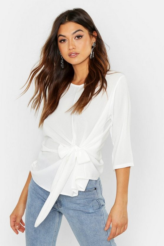White Woven Tie Side Blouse