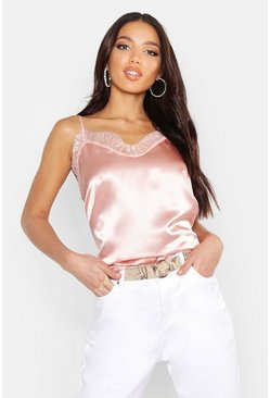 Rose Satin Plain Lace Trim Cami