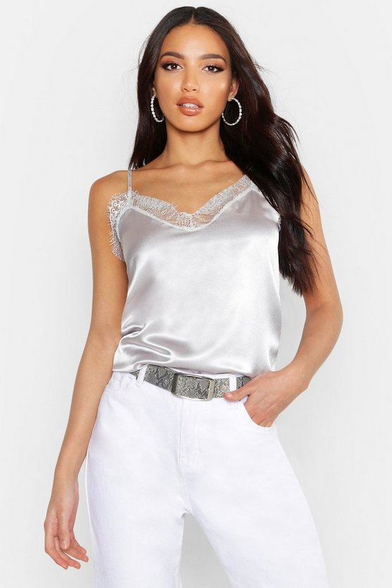 Womens Silver grey Satin Plain Lace Trim Cami