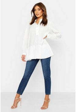 Woven Oversized Pleat Hem Blouse, White, Donna