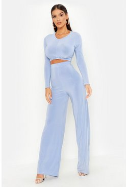 Womens Baby blue Slinky Top Knot & Wide Leg Pants Co-Ord