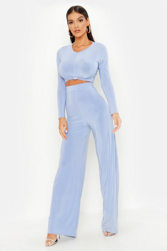 Womens Baby blue Slinky Top Knot & Wide Leg Trouser Co-Ord