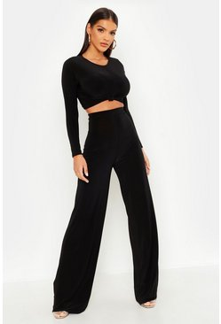 Womens Black Slinky Top Knot & Wide Leg Trouser Co-Ord