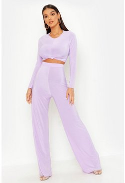 Dam Lilac Slinky Top Knot & Wide Leg Trouser Co-Ord
