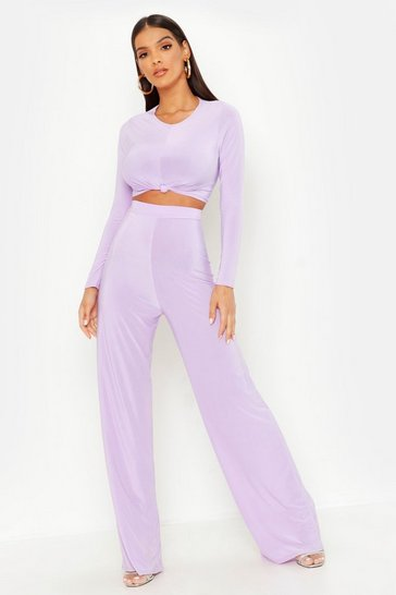 Womens Lilac Slinky Top Knot & Wide Leg Trouser Co-Ord