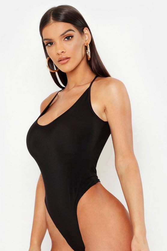 Black Slinky Scoop Back Bodysuit