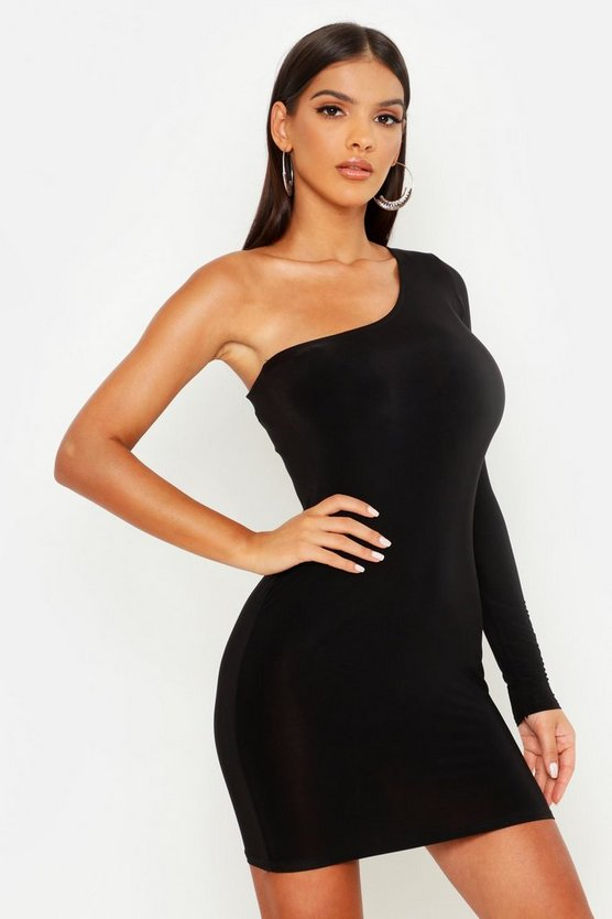 Womens Slinky One Shoulder Mini Dress