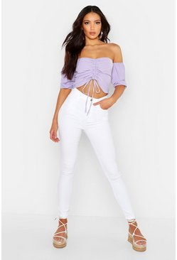 Womens White High Waisted Skinny Jean