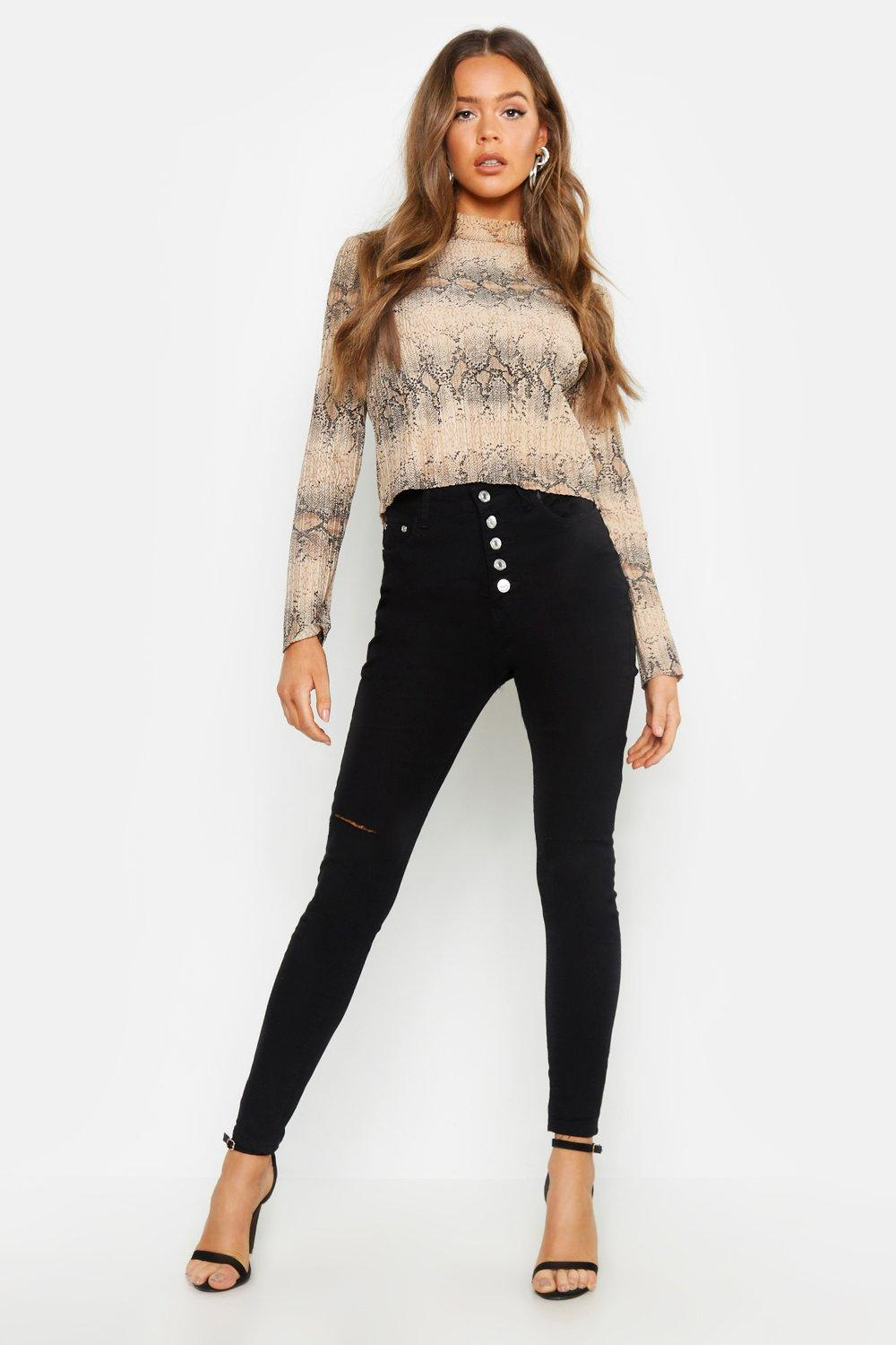 Fly Button High Waisted Skinny Jean