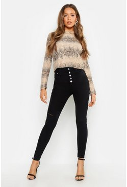 Womens Black Fly Button High Waisted Skinny Jean