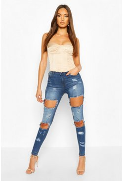 High-Waist Skinny Jeans in Destroyed-Optik, Mittelblau, Damen