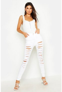 Womens White Distressed High Waisted Skinny Jean