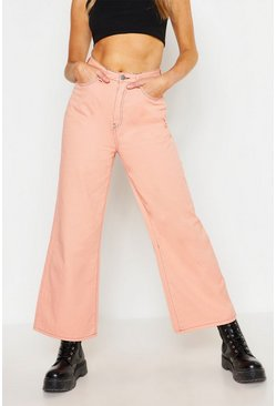 High Waist Contrast Stitch wide Leg Jean, Pink, Donna