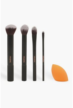Womens Black Boohoo 5 Piece Brush Set