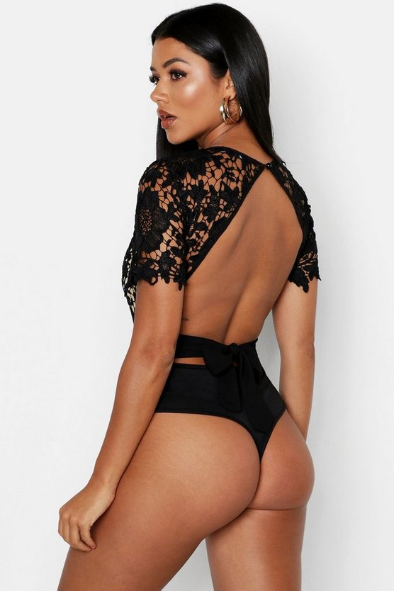 Black Lace Open Back Short Sleeve Bodysuit