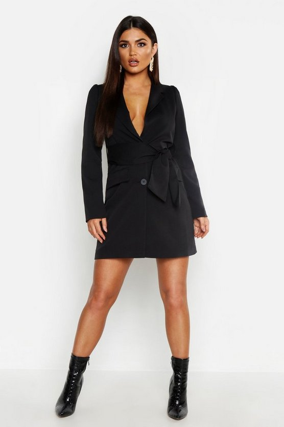 Womens Black Woven Wide Tie Belt Blazer Dress