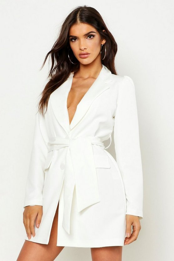 Womens Ivory Woven Wide Tie Belt Blazer Dress