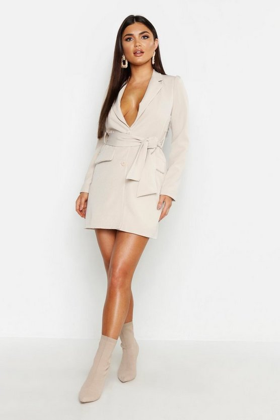 Womens Stone Woven Wide Tie Belt Blazer Dress