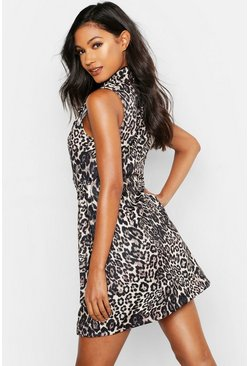 Womens Natural Leopard Buckle Pocket Blazer Dress