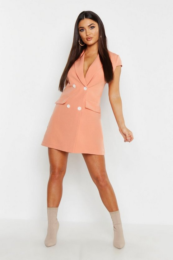 Coral Short Sleeve Double Breasted Blazer Dress