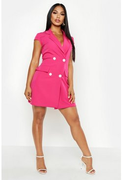 Womens Hot pink Short Sleeve Double Breasted Blazer Dress