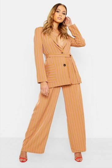 Womens Stone Woven Stripe Wide Leg Trouser