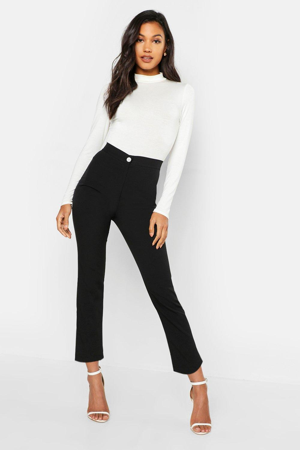 Woven Tapered Contrast Button Trousers