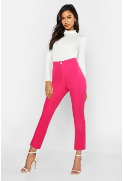 Womens Hot pink Woven Tapered Contrast Button Trousers