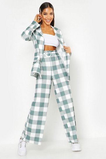 Womens Sage Large Scale Gingham Self Belt Trouser