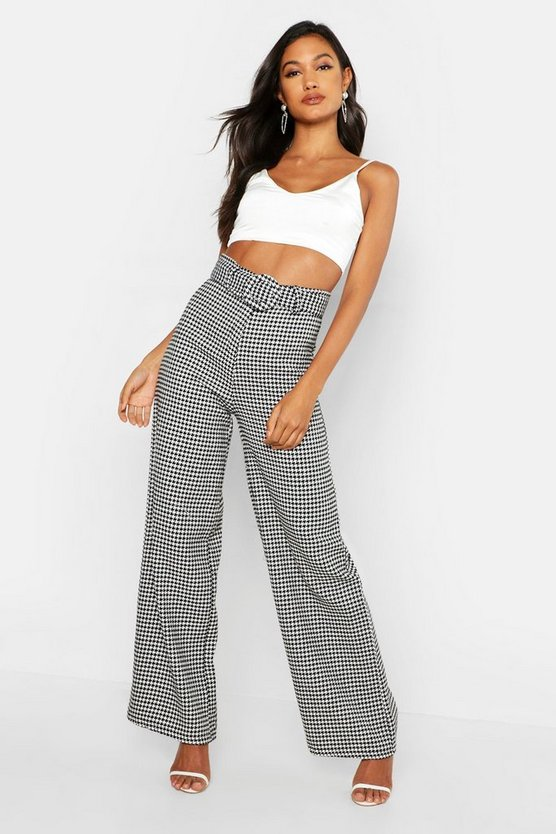 Womens Black Woven Dogtooth Round Cover Buckle Trouser