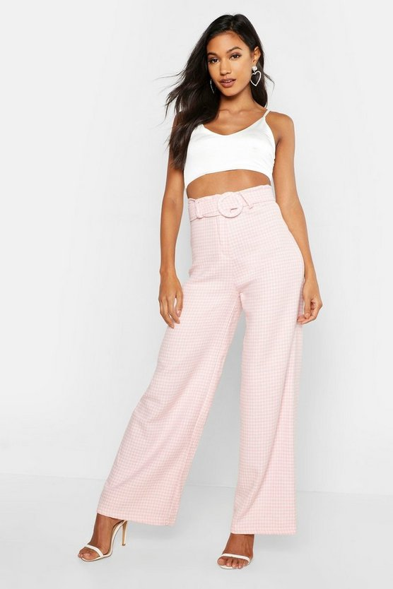 Womens Pink Woven Dogtooth Round Cover Buckle Trouser