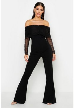 Black Mesh Bardot Ruched Jumpsuit
